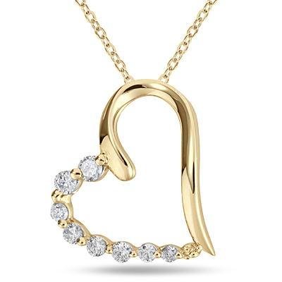 1/3 Carat TW Diamond Heart Journey Pendant in 10K Yellow Gold