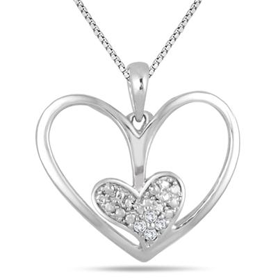 Diamond Double Heart Pendant in .925 Sterling Silver