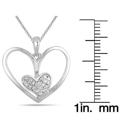 Diamond Double Heart Pendant in .925 Sterling Silver