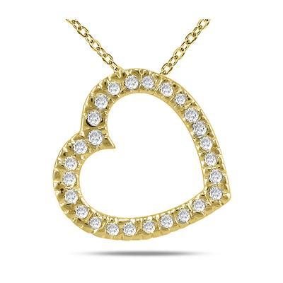 1/4 Carat TW Diamond Slide Heart Pendant in 14K Yellow Gold