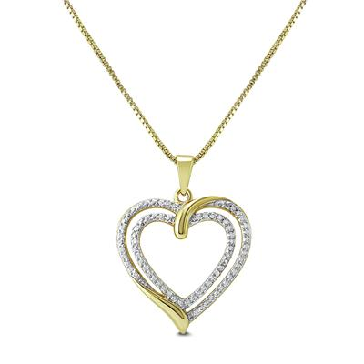 Diamond accent heart pendant in gold polish 925 sterling silver diamond accent heart pendant in gold polish 925 sterling silver aloadofball Image collections