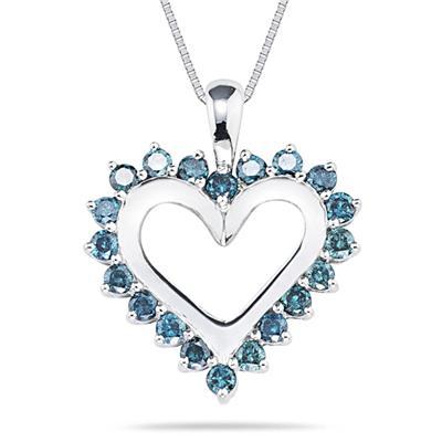 1.00 Carat Blue Diamond Heart Pendant in 14K White Gold