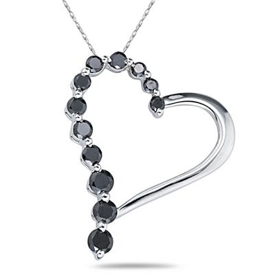 1 Carat  Black Diamond Journey Heart Pendant in White Gold