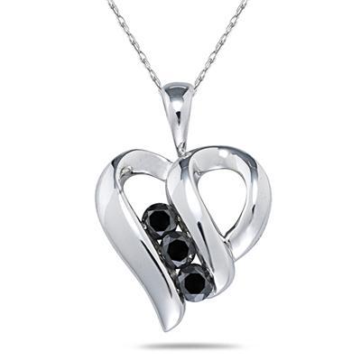3 Stone Black Diamond Heart Pendant in White Gold