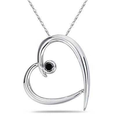 Black Diamond Slide Heart Pendant in White Gold