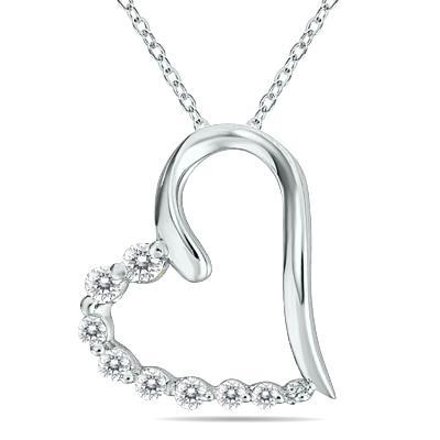 1/3 Carat TW Diamond Heart Journey Pendant in 10K White Gold