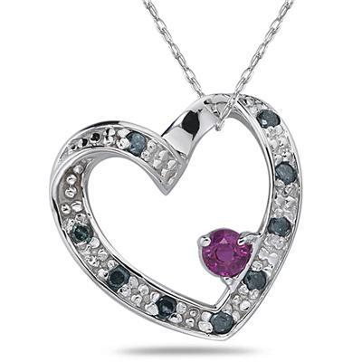 Blue Diamond & Ruby Heart Shape in White Gold