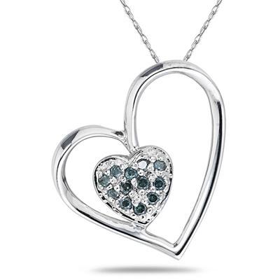 Blue Diamond Double Heart Pendant in 10K White Gold