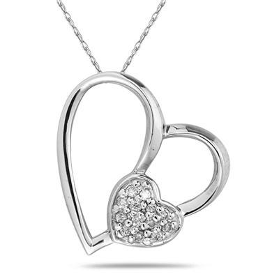 Diamond Heart Pendant in White Gold