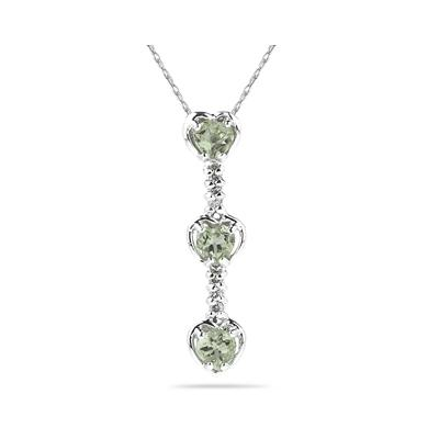 .60ctw Three Green  Amethyst   Hearts and Diamonds Drop Pendant in White Gold