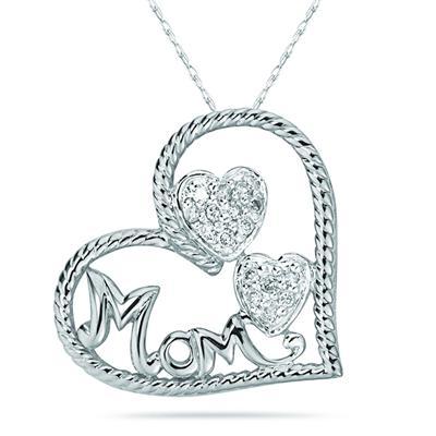 Diamond Heart MOM Pendant in 14K White Gold