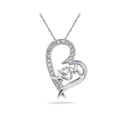 MOM Diamond Heart Pendant 10K White Gold