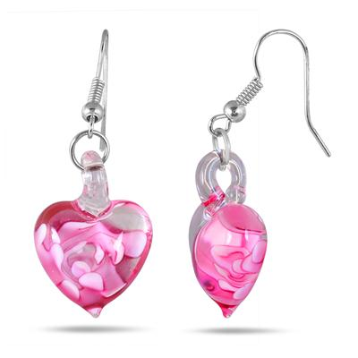 Hand-Blown Artisan Glass Heart Pendant and Earring Set