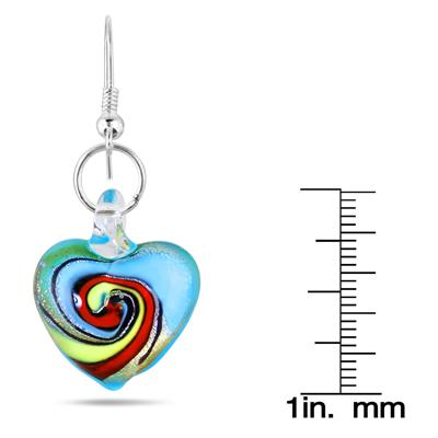 Hand-Blown Artisan Glass Blue Swirl Heart Pendant and Earring Set