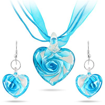 Hand-Blown Artisan Glass Blue Heart Pendant and Earring Set