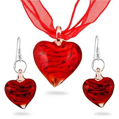 Hand-Blown Artisan Glass Red Heart Pendant and Earring Set