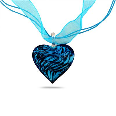 Hand-Blown Artisan Glass Blue Heart Pendant and Earring Set