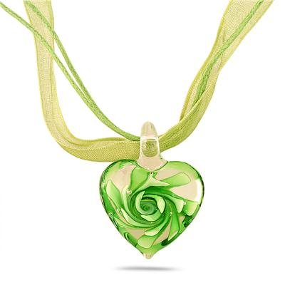 Hand-Blown Artisan Glass Green Heart Pendant and Earring Set