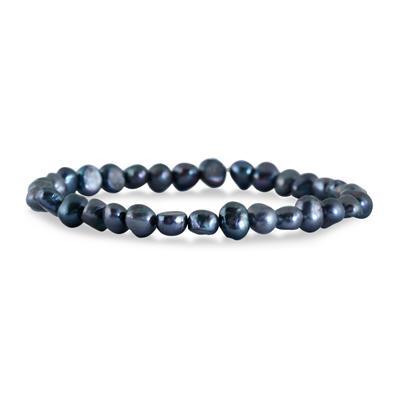 6-7MM Natural Freshwater Black Cultured Pearl Stretch Bracelet