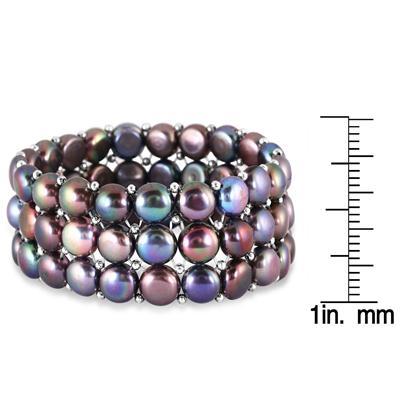 9-9.5MM Natural Freshwater Black Cultured Pearl Stretch Bracelet
