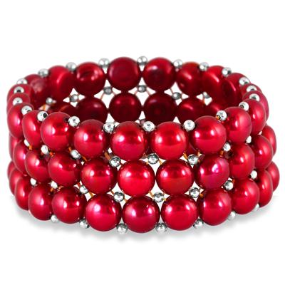 9MM Natural Freshwater Cranberry Colored Cultured Pearl Stretch Bracelet