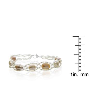 8mm Freshwater Cultured Pearl and Braided Bead Bracelet