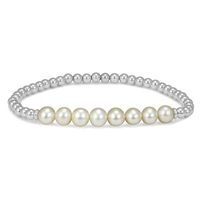 Freshwater Cultured Pearl and .925 Sterling Silver Bead Stretch Bracelet