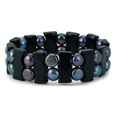 Black Freshwater Cultured Pearl and Onyx Bracelet