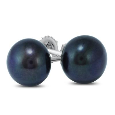 7-7.50MM All Natural Freshwater Black Cultured Pearl Stud Earrings in .925 Sterling Silver