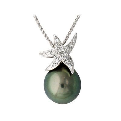 Tahitian Pearl and Diamond Sparkling Star Pendant