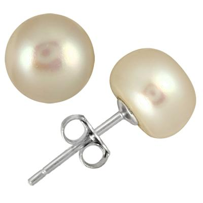 8.5-9mm All Natural Freshwater White Cultured Pearl Stud Earrings in .925 Sterling Silver