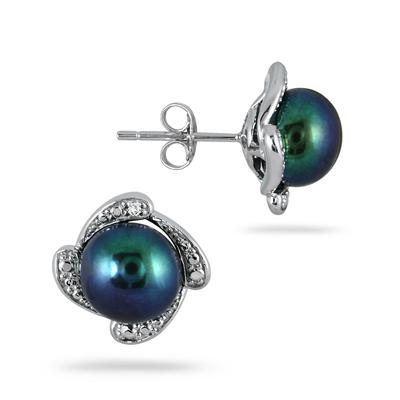 8-8.5 mm Freshwater Black Cultured Pearl and Diamond Earrings in .925 Sterling Silver