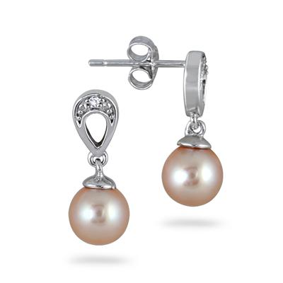 6.5-7mm All Natural Freshwater Pink Cultured Pearl Earrings in .925 Sterling Silver