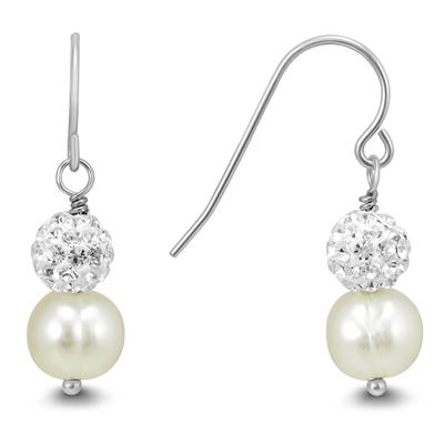 Honora Cultured Pearl and Swarovski Crystal Drop Earrings in .925 Sterling Silver