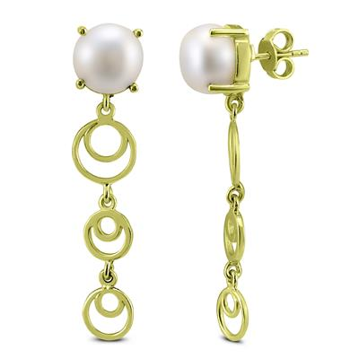 Freshwater Cultured Pearl Drop Earrings in Gold Plated .925 Sterling Silver
