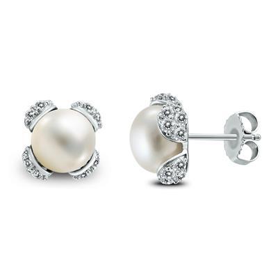 9-10mm Freshwater Cultured Pearl & White Topaz Flower Earrings in .925 Sterling Silver