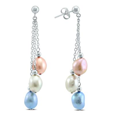 Multi-Color Freshwater Cultured Pearl Drop Earrings in .925 Sterling Silver