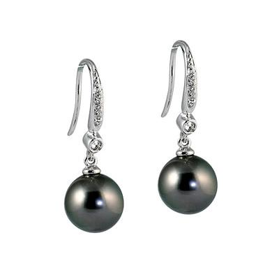 Natural Tahitian Round Pearl & Diamond Drop Earrings in 14K White Gold