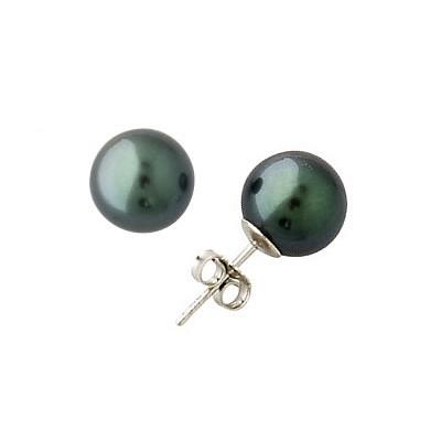 Natural Tahitian Round Pearl Stud Earrings in 14K White Gold