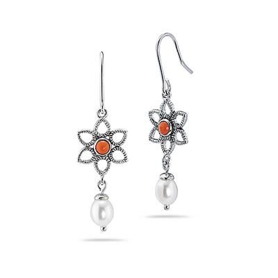 Natural Freshwater Cultured Pearl and Coral Drop Earrings