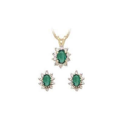 Oval Flower Emerald and Diamond Set