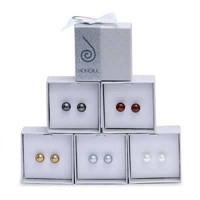 Multi Colored Natural Freshwater Cultured Pearl Stud Earrings in .925 Sterling Silver -5 Piece Gift Box Set