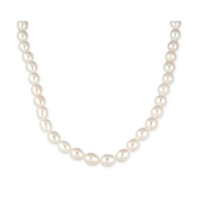 7.5-8mm Freshwater White Oval Tear Drop Cultured Pearl Necklace with 14K Yellog Gold Clasp