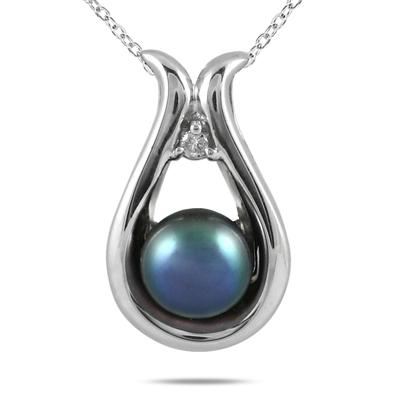 All Natural Freshwater Black Cultured Pearl and Diamond Pendant in .925 Sterling Silver