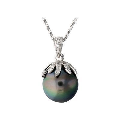 Tahitian Black Pearl and Diamond Pendant