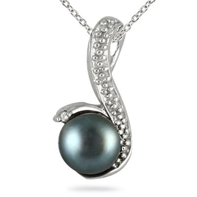 6MM Natural Freshwater Cultured Pearl and Diamond Pendant in .925 Sterling Silver