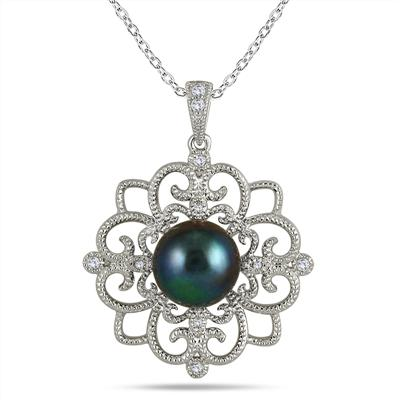 10mm Freshwater Black Cultured Pearl and Topaz Snowflake Pendant in .925 Sterling Silver