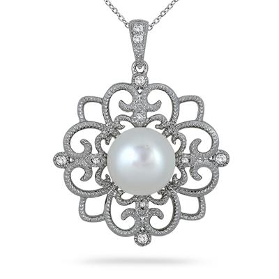 10mm Freshwater White Cultured Pearl and Topaz Snowflake Pendant in .925 Sterling Silver