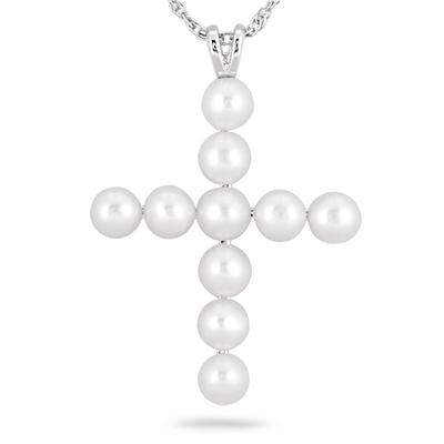 4MM Freshwater Cultured Pearl Cross Pendant in .925 Sterling Silver