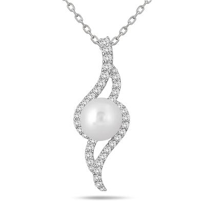4 Carat White Topaz and Freshwater Cultured Pearl Pendant in .925 Sterling Silver